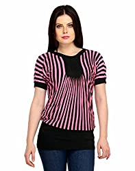 Snoby Pink stylish Crepe Top in Stripes (SBY1010)