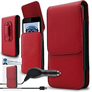 iTALKonline Samsung Galaxy S6 Edge Plus (Edge+) Red PREMIUM PU Leather Vertical Executive Side Pouch Case Cover Holster with Belt Loop Clip and Magnetic Closure and 1000 mAh Coiled In Car Charger LED Indicator and Overload Protection