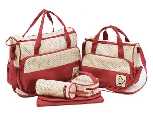 Tonwhar Large Capacity Mummy Bag 5 Piece Portable Diaper Handbag (Red) front-379292