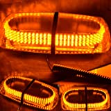 Nilight(TM) 240 LED Amber Emergency Hazard Warning LED Mini Bar Strobe Light w/ Magnetic Base
