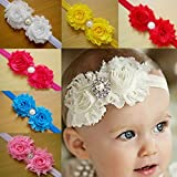 TANZKY® 10pcs Fashion Baby Headband Rose Pearl Ribbon Flower Princess Hairband
