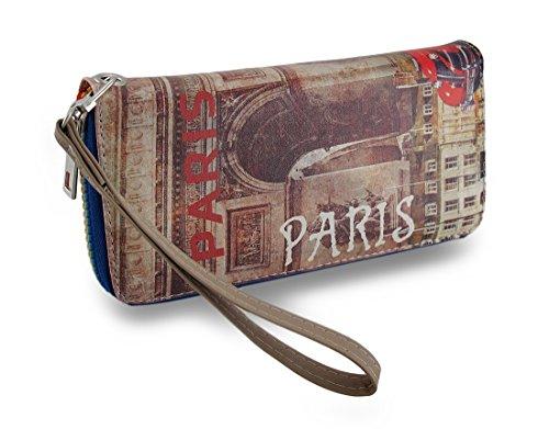 Vintage Paris Eiffel Tower Print Zip Around Wallet/Wristlet W/Removable Strap