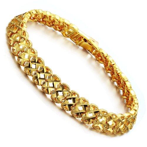 Opk Jewelry Fashion 18K Gold Plated Women's Bracelets GP Wristband Chain Bangle Hollow Out Gifts