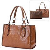 MELLIEHA Brown 2 in 1 Free Style Double Handles Oversized Shopper Tote Shoulder Bag Hobo Satchel Handbag Purse