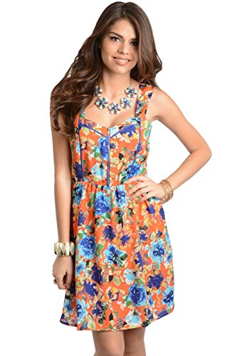 2Luv Women'S Floral Zip A-Line Dress Orange1 L (Id9391Ce1)