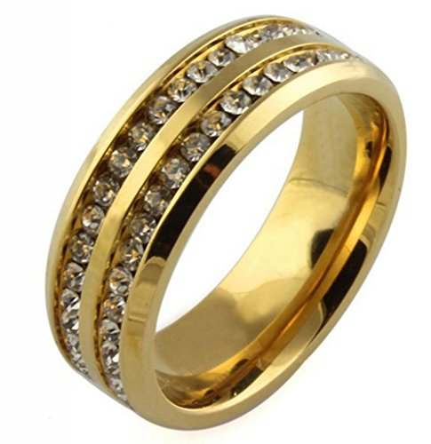 Amdxd Jewelry Titanium Stainless Steel Plated 18K Gold Unisex'S Rings Shining Cz Golden Us Size