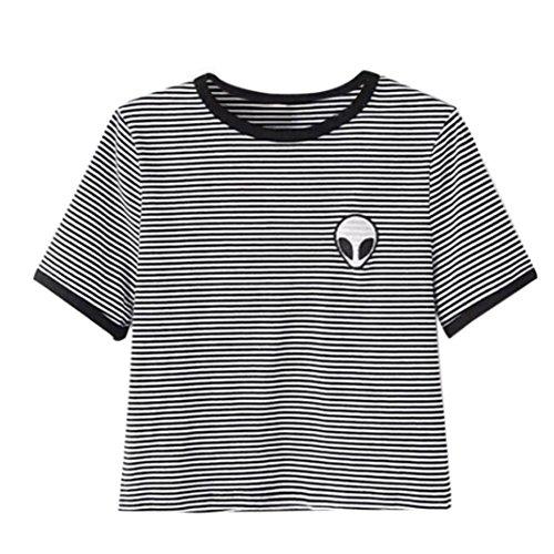 Sannysis Aliens stampa 3d raccolto T-shirt manica corta cime delle donne (nero, S)
