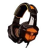 SADES SA-738 ステレオゲーミングヘッドセット ゲーミングヘッドセット 高集音性マイク 大型快適イヤーカップ ヘッドアーム調整可能 ノイズキャンセリング機能搭載 USB有線ヘッドフォン ブラック&オレンジ