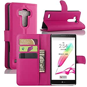 Premium Leather Wallet Case Cover for LG G Stylo / LG G4 Stylus LS770 (2015) (Wallet - Rose)