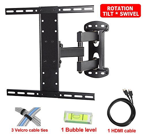 "Mounting Dream MD2383 TV Wall Mount Bracket with Full Motion Articulating Arm (14"" Extension) for Most of 26-55 Inches LED, LCD and Plasma TVs up to VESA 400x400mm and 66 lbs, with Tilt, Swivel, and Rotation Adjustment, Including 6 ft HDMI Cable and Bubble Level (For LG, Samsung, Sony, Toshiba, Vizio, Sharp, TCL 26, 28, 32, 40, 42, 47, 48, 49, 50, 51, 55 Inch TV)"