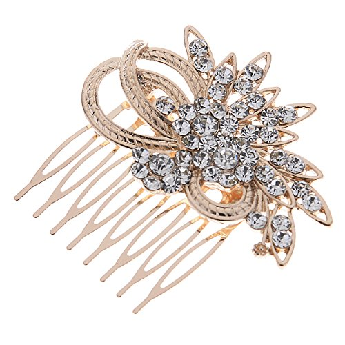 Remedios Vintage Crystal Bridal Hair Comb Wedding Hair Accessory, Light Gold 0