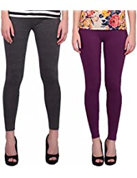 Keemono High Quality Stretchable Cotton Lycra Purple Heart & Grey Color Ankle Length Leggings Combo