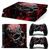 Gam3Gear Vinyl Sticker Pattern Decals Skin for PS4 Console & Controller (NOT for PS4 Slim / PS4 Pro) - Black Red Skull (Color: Black Red Skull)