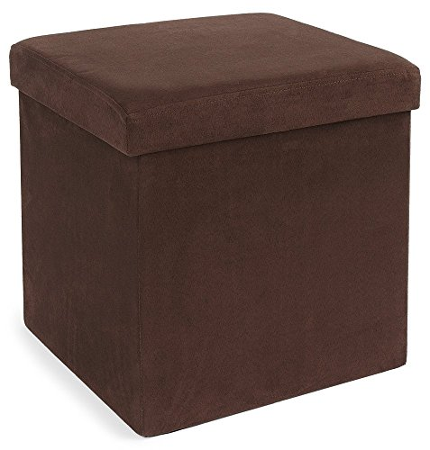 fhe group microsuede folding storage ottoman 15 by 15 by 15 inches