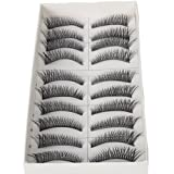 10 Pairs Black Long Thick Cross Style Reusable False Eyelashes Fake Eye Lash For Makeup Cosmetic