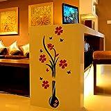 Ussore Wall Stickers DIY Vase Flower Tree Crystal Arcylic 3D Removable Art Vinyl Mural Sticker Art Home Decor