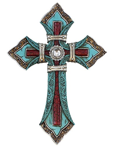 Ornate Wall Cross - Tooled Teal Leather Look - Layered with Center Rhinestone