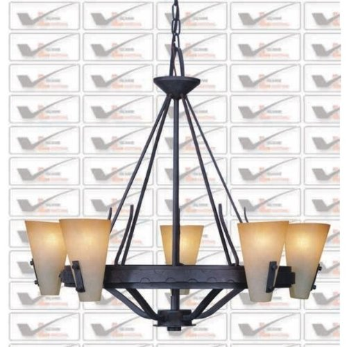 Black Chandelier Iron Wrought - Indoor  Outdoor Lighting - By