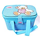 Nursery Organizer Storage Container Large Travel Basket Bin Teddy (Blue Checks))