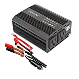 Power Inverter UCERAMI 350W Power Converter Adapter with 2 AC Outlet and 4.2A Dual USB Ports Car Charger(Black)