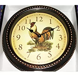 10 Inch Round Rooster Wall Clock