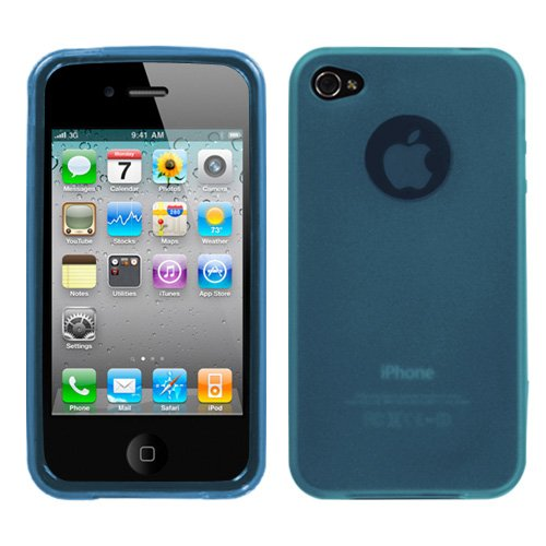 Apple Iphone 4 Skin Cover Semi Transparent Baby Blue Candy Rubberized front-1039254