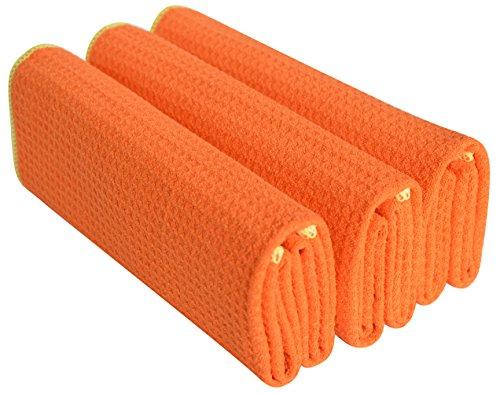 Sinland Microfiber Waffle Weave Kitchen Towels Dish Cloth 3 Pack 16inch X 24inch Orange Edge