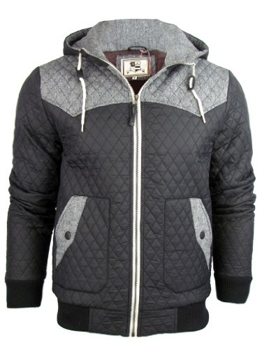 Mens Brave Soul 'Wilderness' Quilted Padded Jacket/ Coat - Black