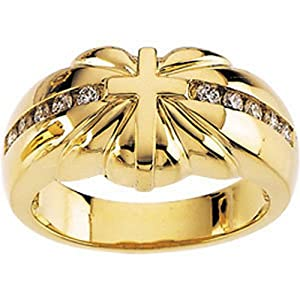 IceCarats Designer Jewelry 14K Yellow Gold Diamond Accented Cross Ring Size 6