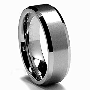 6MM High Polish / Matte Finish Tungsten Ring, Bands Size 9.5