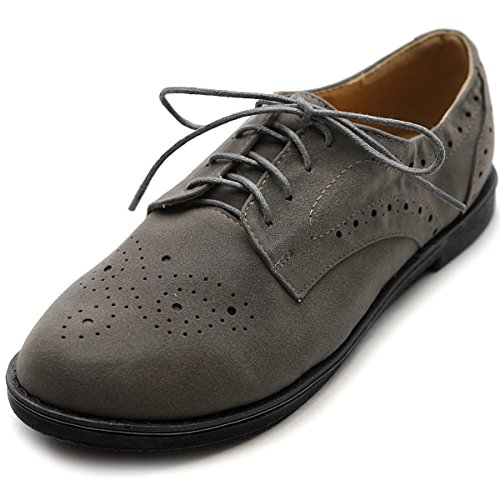 Ollio Women's Lace Up Wing Tip Casual Shoe Dress Low Heel Oxford(7