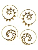 Classic Spiral Gold Tone Brass Earrings - (2 Pairs)