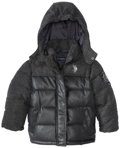 U.S. Polo Association Little Boys' Nylon Bubble Jacket, Black, 7