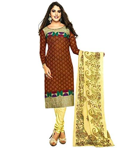 Jevi Prints Brown Unstitched Cotton Printed Punjabi Suit Dupatta