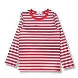 (コマンス)commencer子供服 ボーダー長袖 Tシャツ 100-160cm 男の子 女の子 キッズ カットソートップス (120, 白 X 赤)