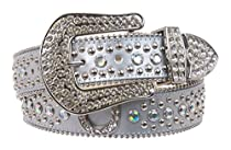 Snap on Western Rhinestone Silver Circle Studs and Horseshoes Decoration Genuine Leather Belt Size: M/L - 35 Color: Silver