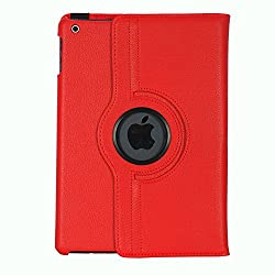 iPad Air Case, Stand Flip Cover 360 Degree Series PU Leather Premium 360 Degree Rotating Stand Flip Cover With auto wake sleep (Red)