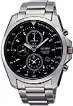Seiko Black Dial Chronograph Stainless Steel Mens Watch SNDD63