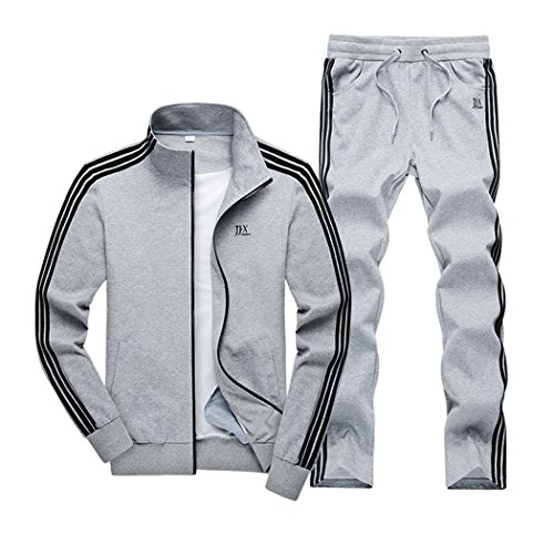 Real Spark(TM) Men Cotton Casual Zip Up Slim Stand Collar Tracksuit Sportswear Jogging Sweat Suit Grey M