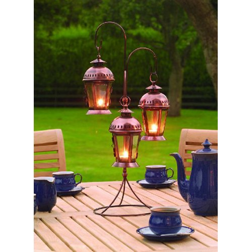 Indoor / Garden Three Hanging Lantern Candle Holder – Copper