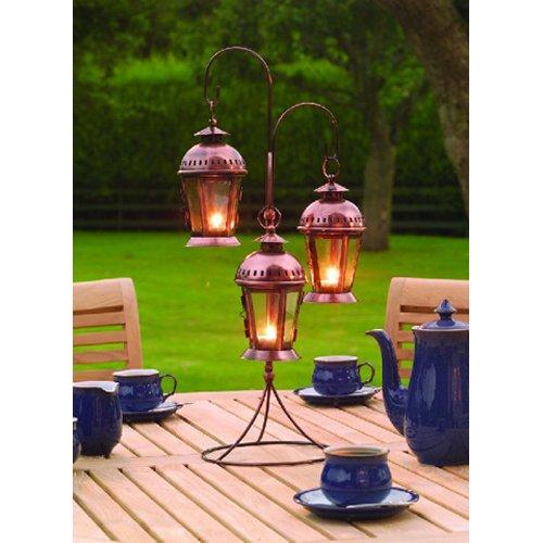 Indoor / Garden Three Hanging Lantern Candle Holder - Copper