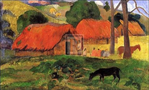art-poster-print-village-in-tahiti-artist-paul-gauguin-poster-size-34-x-24-inches