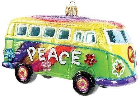 Hippie VW Bus Polish Glass Christmas Ornament