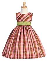 Sleeveless Pink Plaid Holiday Dress with Green Sash - 7