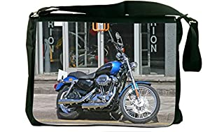 Rikki KnightTM Harley Davidson Blue Design Messenger Bag - Shoulder Bag - School Bag for School or Work