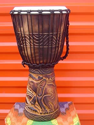 "20"" X 10-11"" Deep Carved Djembe Drum Elephants with Free Cover, Model # 50M8"