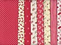 8 Fat Quarters Set Red Co-ordinating French Fabric Mini Designs 100% Cotton