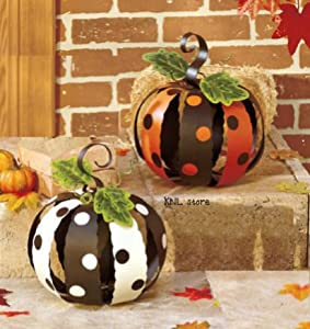 Set of 2 Small White Orange & Black Metal Polka Dot Pumpkins Halloween Fall Autumn Decor by knl store