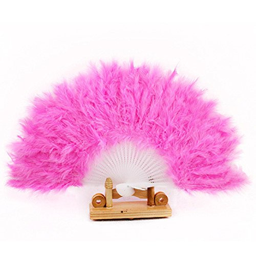 Mikey Store 1PC Multi-color Dance Party Wedding Goose Feather Folding Hand Held Flower Fan (Pink) (Decorative Fan Pink compare prices)