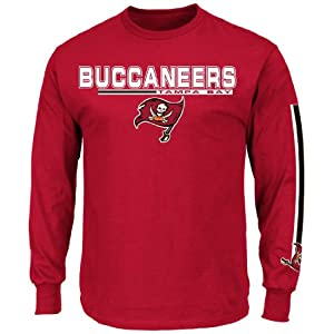 Tampa Bay Buccaneers Majestic Primary Receiver V Long Sleeve Mens T-Shirt - Red by Unknown